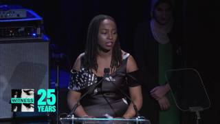 Linda Sarsour introduces honoree Opal Tometi at WITNESS