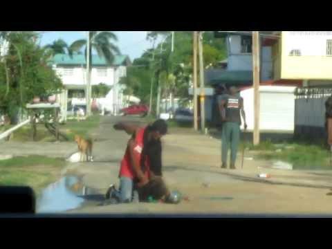 Junkie Street Fight in Paramaribo, Suriname