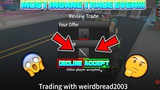 Proprietà ROBLOX . ASSASSIN: MIGLIORE COMMERCIO MAI PER ELEGANT BLADE -MOST INSANE TRADE (TRADING W/ WeirdBread2OO3)