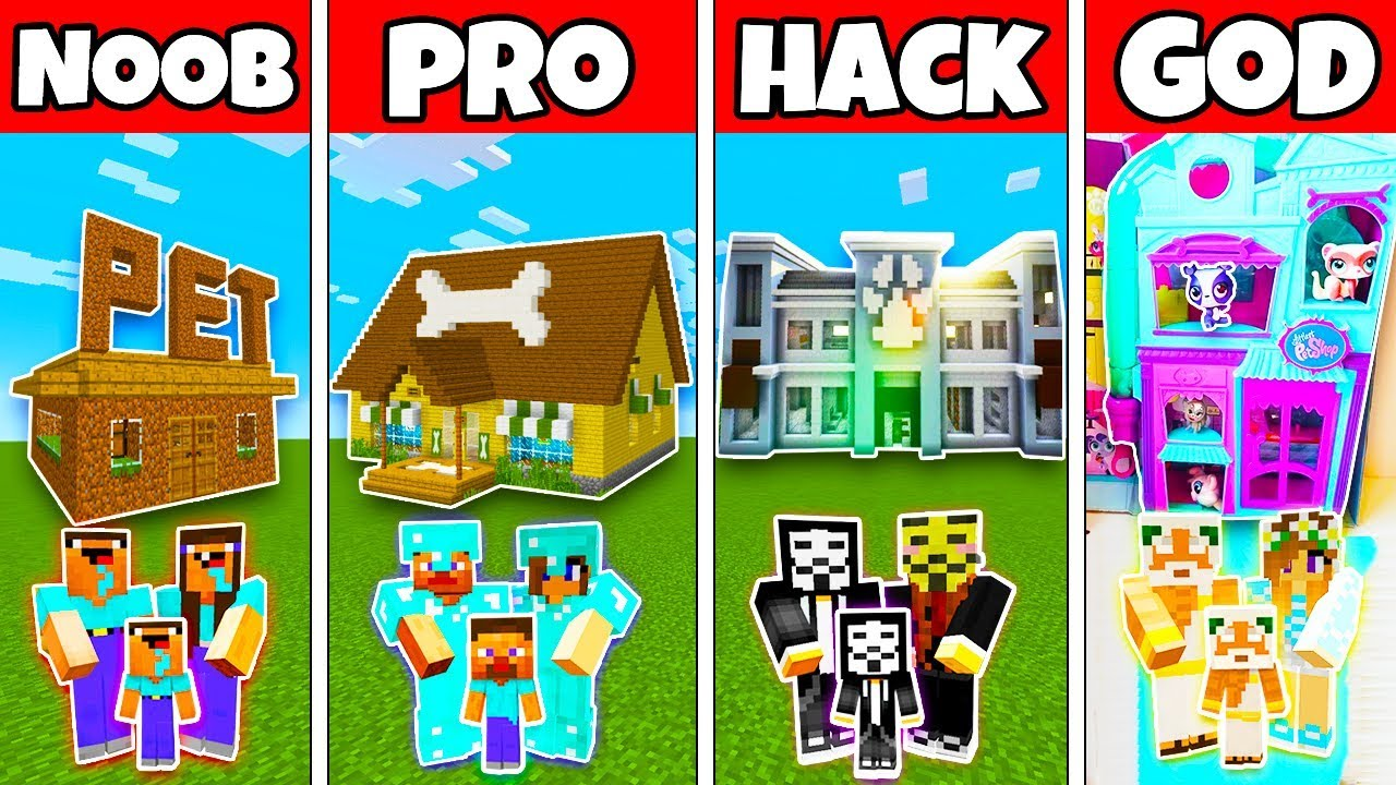 Minecraft: FAMILY PET SHOP HOUSE BUILD CHALLENGE - NOOB vs PRO vs HACKER vs GOD in Minecraft