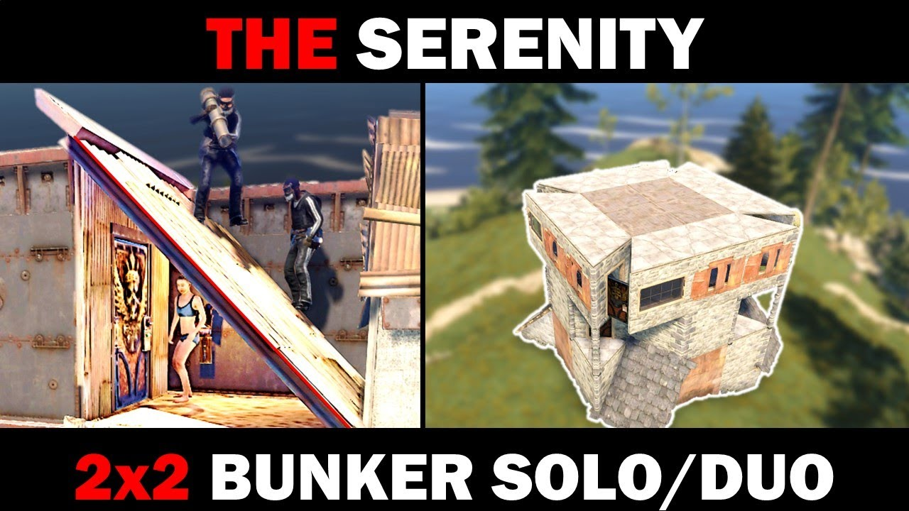 Serenity - Simple 2x2 Solo/Duo RUST Bunker Base   23-27 Rockets to TC