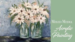 Daisies Mixed Media Acrylic Speed Painting