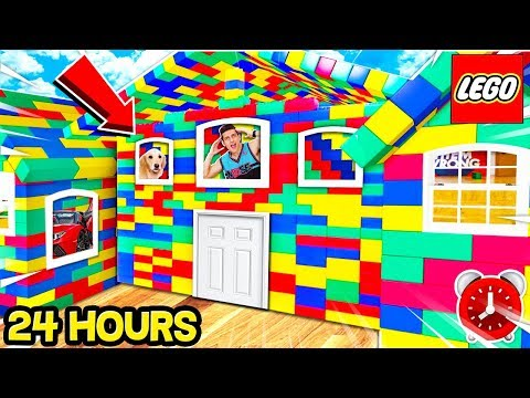 24 HOUR WORLD'S BIGGEST LEGO BOX FORT MANSION SURVIVAL CHALLENGE! 📦🏠 (With PUPPY, CAT & SISTER
