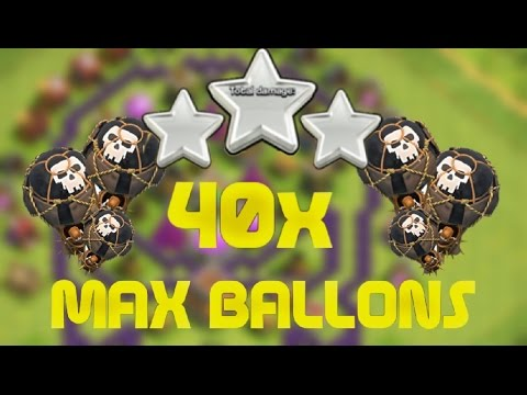 40 Max Balloons Vs A Rushed TH 9! - Clash Of Clans