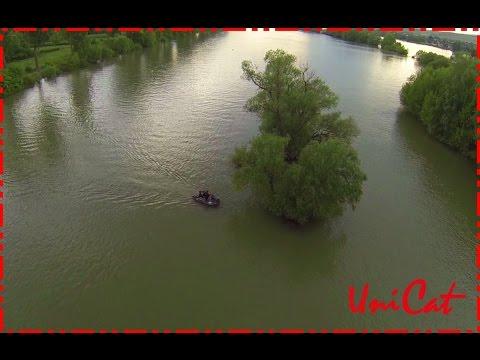 Wallermontagen Welsmontagen mit der Drohne/ Welsangeln in Deutschland aus der Luft