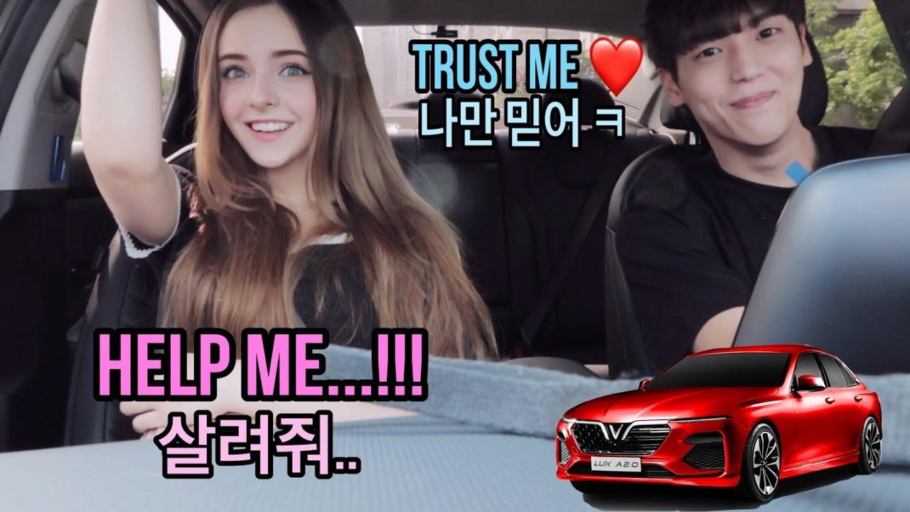 [국제커플] 운전 처음 하는 남편 차에 탔는데...제발😭 / His first time driving and im in his car..!!!
