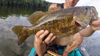 I CAUGHT THE BIGGEST SMALLMOUTH BASS OF MY LIFE!!! (Ultralight Tackle)