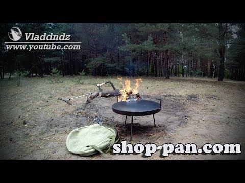 Сковорода из диска бороны, с крышкой и чехлом для пикника