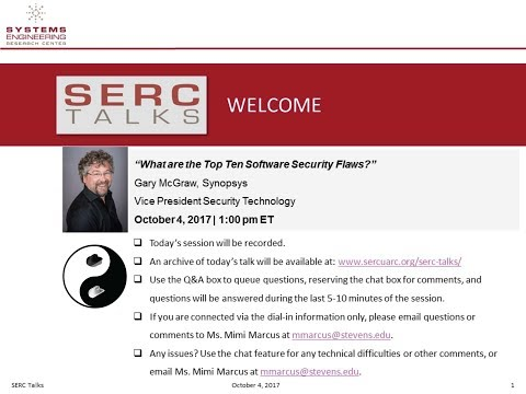 "SERC Talks: ""What are the Top Ten Software Security Flaws?"""