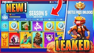 "*NEW* Fortnite SEASON 5 ""MAX BATTLE PASS"" SKINS & THEME LEAKED! - NEW SEASON 5 Free SKINS +MAP Leak!"