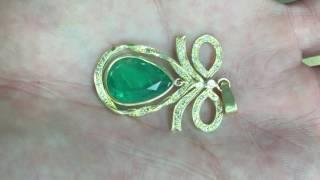 Beautiful Custom made Emerald and Green gold pendant 18k