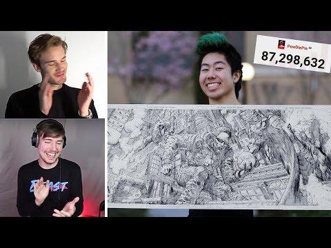 Pewdiepie & MrBeast Review My Art! - Drawing Pewdiepie For 24 Hours Straight!