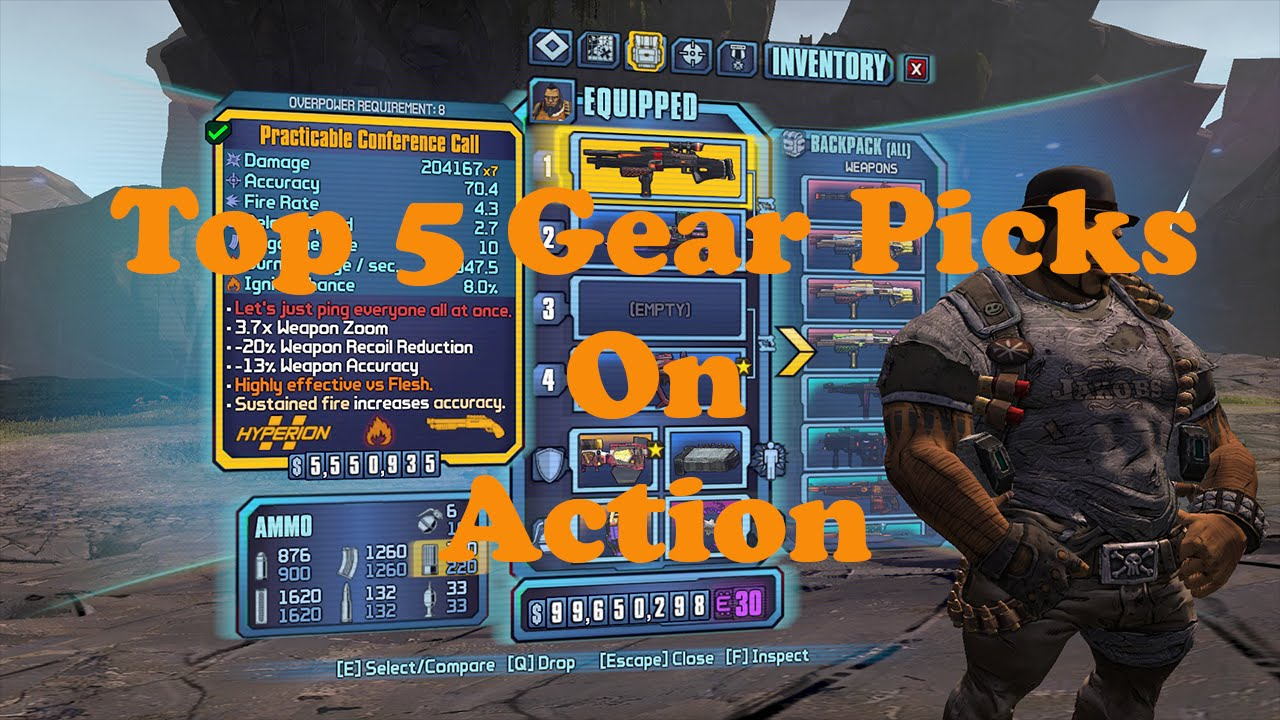 Borderlands 2 Top 5 Gear For Sal Follow Up Video Using Them On Enemies