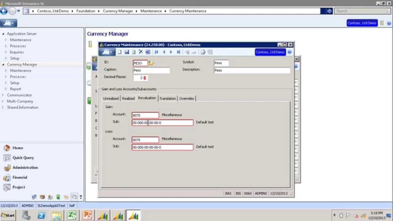 How to revalue General Ledger in Currency Manager in Microsoft Dynamics SL