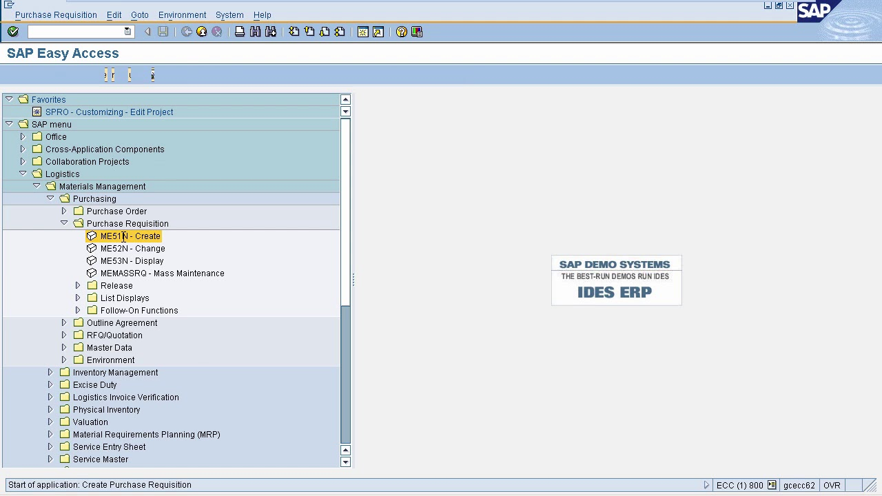 SAP MM - Purchase Requisition