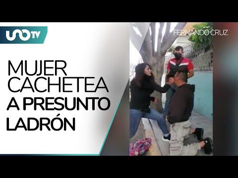 Mujer abofetea a ladrón tras robar su celular en Ecatepec