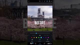 Editing cityscape image on iPhone using free Photoshop apps
