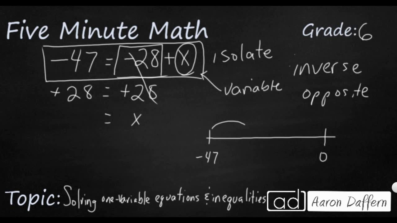 6th Grade Math - Solving One-variable Equations and Inequalities