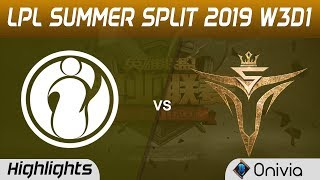 IG vs V5 Highlights Game 1 LPL Summer 2019 W3D1 Invictus Gaming vs Victory Five LPL Highlights by On