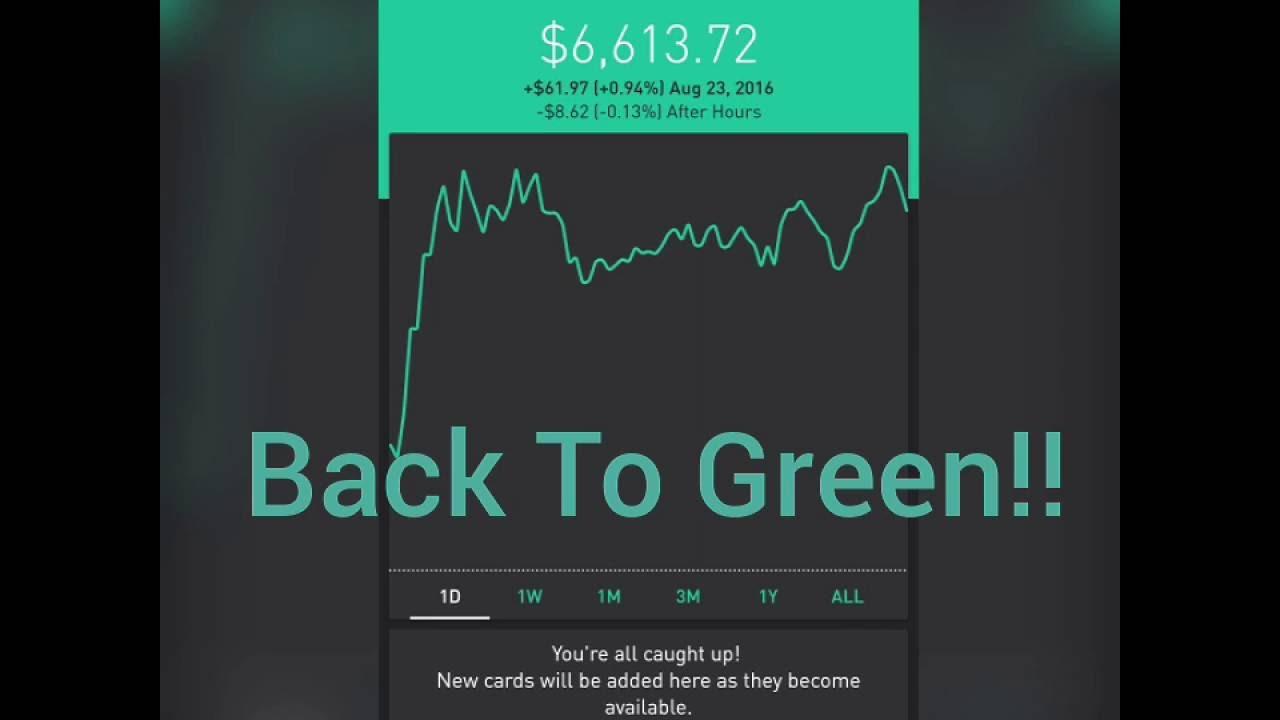 Robinhood App Back To Green Baby My Robinhood Portfolio Making It Rain Youtube