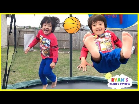 Kids First Time Surprise Giant Trampoline Family Fun Playtime with Ryan's Family review!