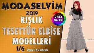 ModaSelvim 2019 Kışlık Tesettür Elbise Modelleri DİKEY GALERİ 1-6    Tesettür  Elbise  Modaselvim
