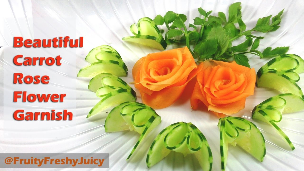 Beautiful Carrot Rose Flower Garnish - Vegetable Art & Design