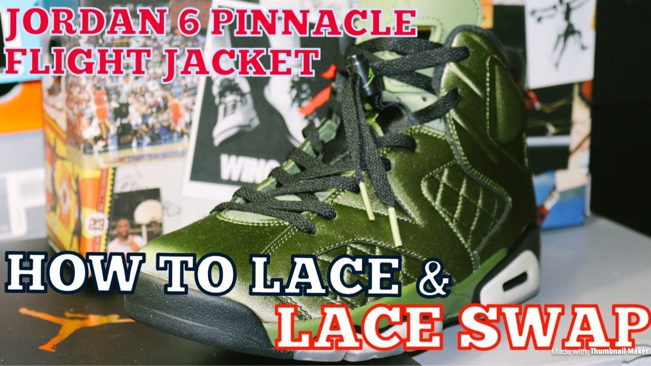 7e22bd8f5a6f9d Lace Swap   How To Lace - Air Jordan 6 Pinnacle Flight Jacket - YouTube