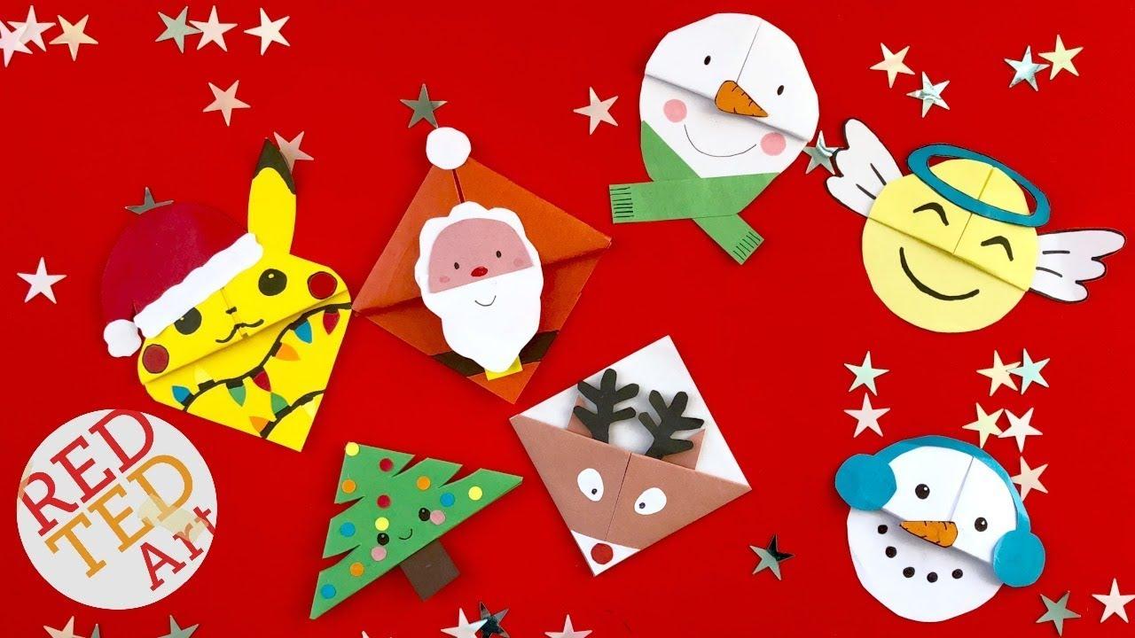 6 Christmas Corner Bookmark Designs - DIY Kawaii Bookmarks for ...