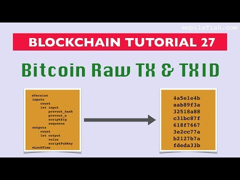 Blockchain tutorial 27: Bitcoin raw transaction and transaction id