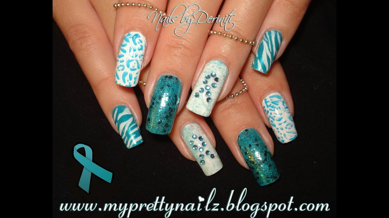 Pcos and ovarian cancer awareness nails easy nail art design pcos and ovarian cancer awareness nails easy nail art design tutorial youtube prinsesfo Choice Image