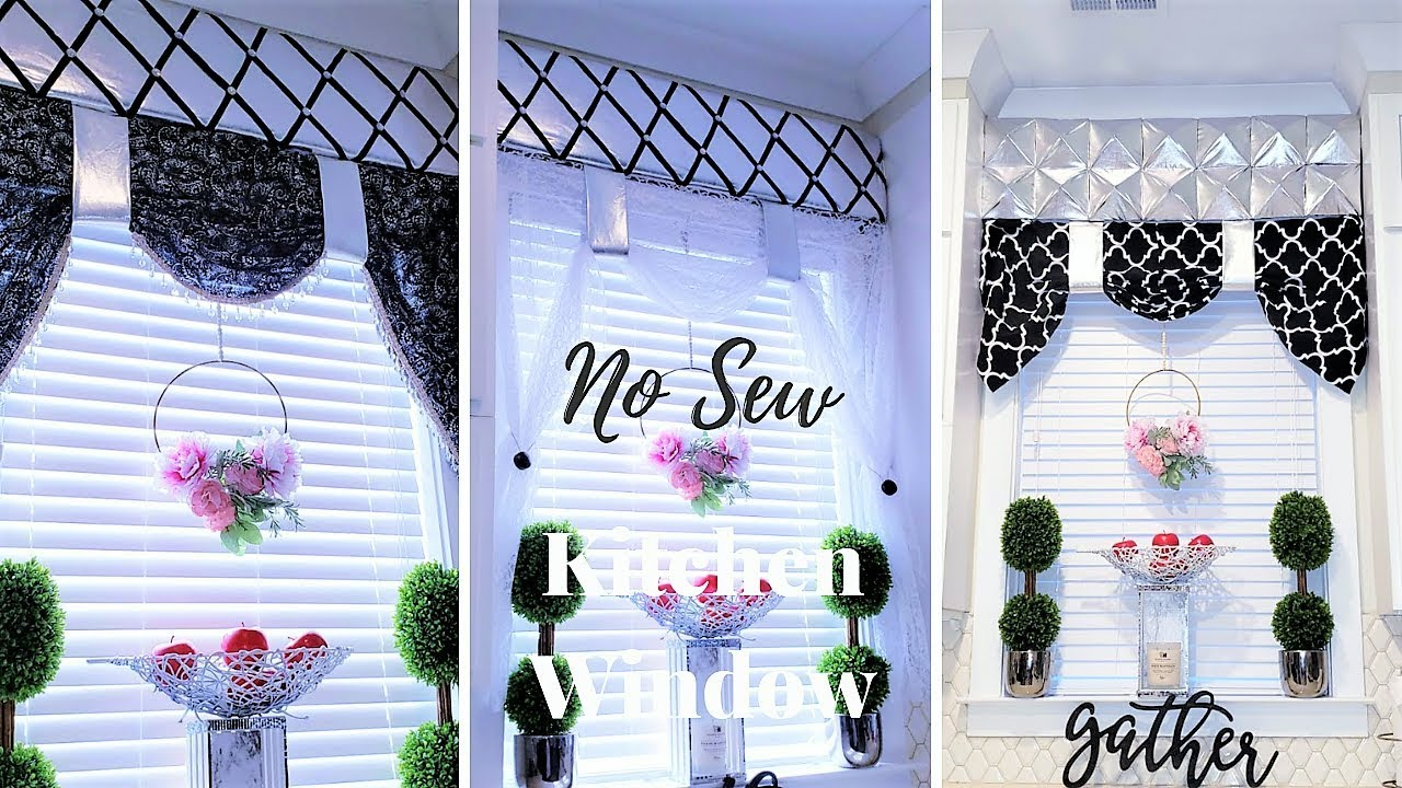 diy no sew kitchen window treatment easy home decor idea 2019