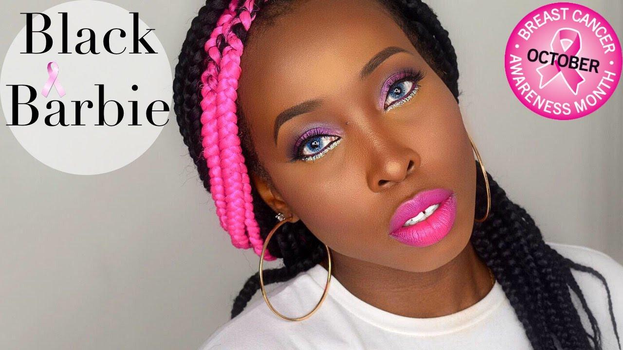 Black Barbie 2015 | 2015 Halloween Makeup Tutorial | Breast Cancer Awareness Tutorial 2015 - YouTube