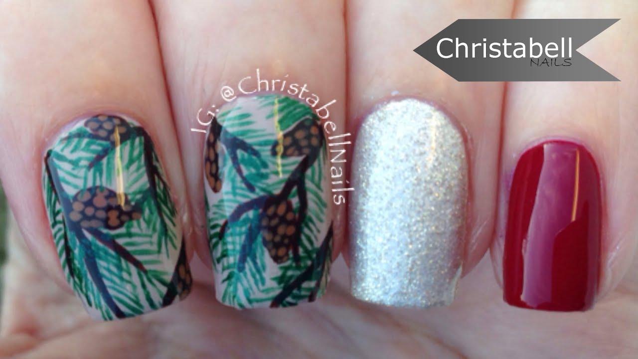 Christmas Winter Pine Tree Nails Nail Art Tutorial Youtube