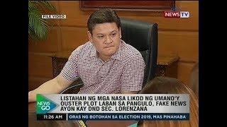 Listahan ng mga nasa likod ng umano'y ouster plot laban sa pangulo, fake news ayon kay Lorenzana