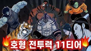 🔥호랑이형님 전투력 11티어 총정리🔥 (지금껏 등장한 50여캐 캐릭터 ALL)