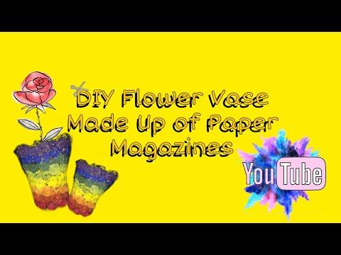 DIY Flower Vase Made Up of Paper Magazines