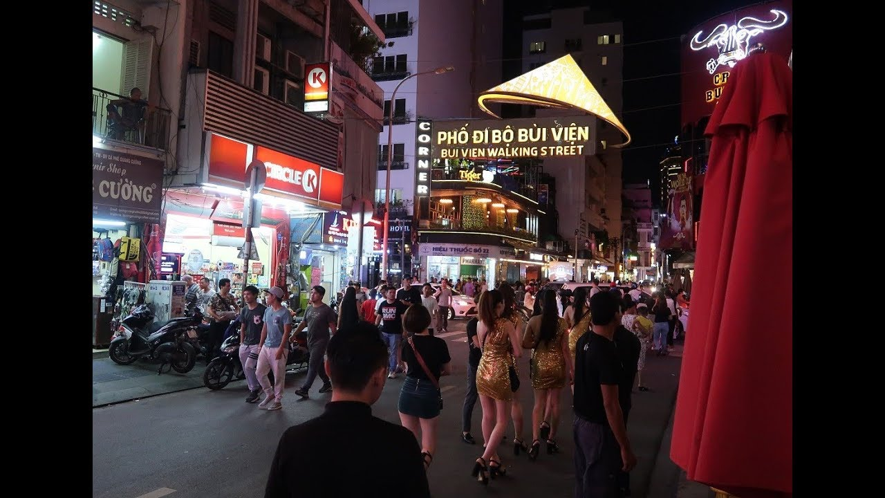 Bui Vien street at night - Girly bars in Ho Chi Minh City, Vietnam