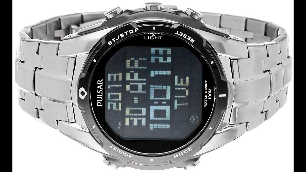 e8d3af981 Pulsar Men's PQ2001 Silver-Tone Digital Stainless Steel Watch with Link  Bracelet