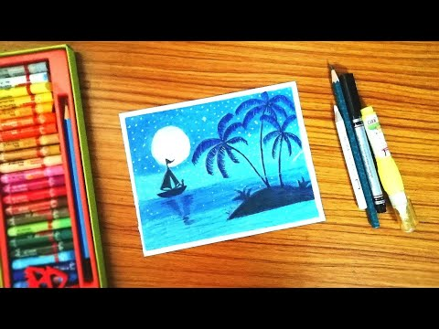 EASY LANDSCAPE Drawing For Beginners with oil pastels step by step