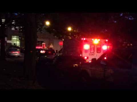 CFD Engine 125 and Ambulance CO47 depart with casualty after responding
