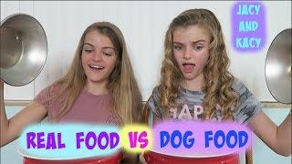 Real Food vs Dog Food Challenge ~ Jacy and Kacy