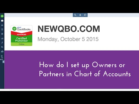 QuickBooks Online Tutorial  - How do I set up Owners or Partners Equity in Chart of Accounts QBO
