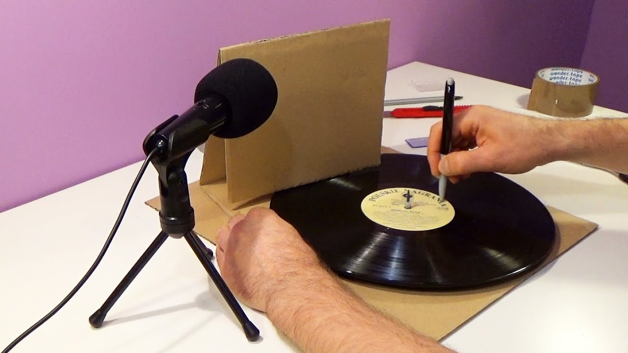 diy cardboard record player turntable gramophone youtube. Black Bedroom Furniture Sets. Home Design Ideas