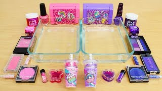 Pink vs Purple - Mixing Makeup Eyeshadow Into Slime Special Series 155 Satisfying Slime Video
