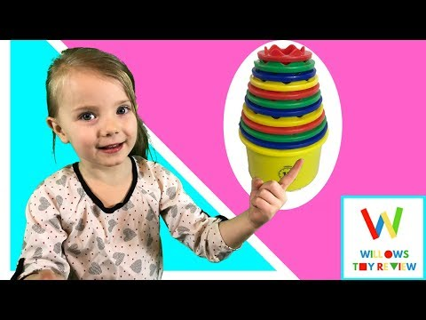 Stackable Toy Cups - Measure Up Cups by Discovery Toys - Learn Colors, Counting & Animal Names