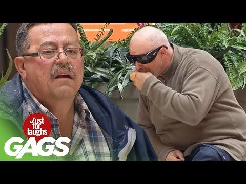 Blind Man's Slimy Sneeze on Strangers Prank - Just For Laughs Gags