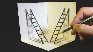 How to draw 3d ladders - Drawing 3D Ladders - Trick Art for Kids & Adults - VamosART