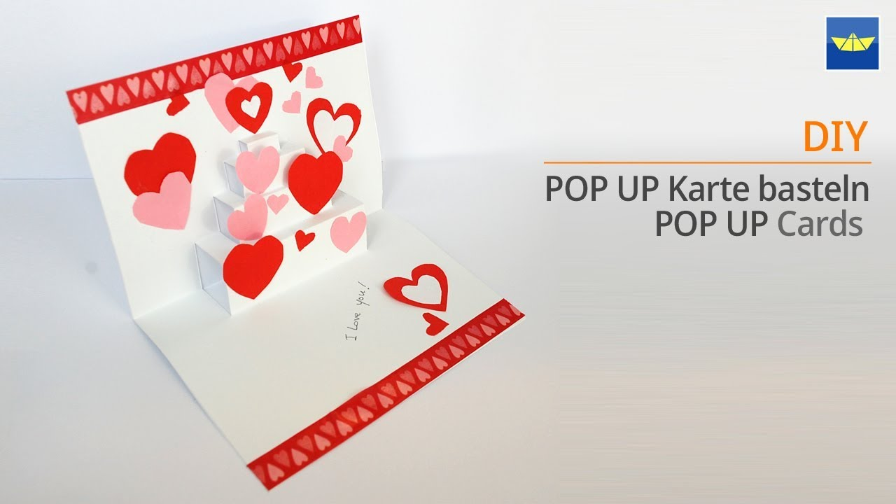 Pop Up Karte Basteln Herz Diy Geschenke Valentinstag Muttertag