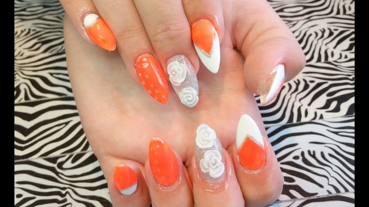 Acrylic Nails l Full Set l Neon Orange & White 3D l Nail ...